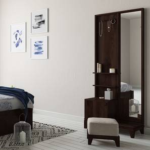 Magellan Dressing Table With Pouffe (Mahogany Finish) by Urban Ladder - Full View Design 1 - 130810