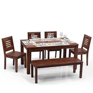 Arabia - Capra 6 Seater Dining Table Set (With Bench) (Teak Finish) by Urban Ladder - Half View Design 1 - 122026