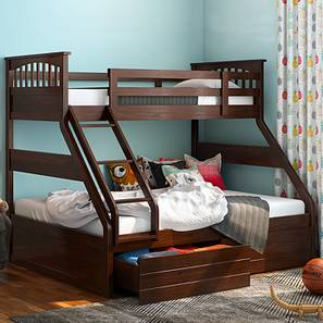 Barnley Single Over Queen Storage Bunk Bed (Queen Bed Size, Dark Walnut Finish) by Urban Ladder - Design 1 - 142538