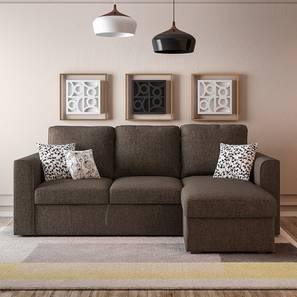 Kowloon Sectional Sofa Cum Bed with Storage (Sand Brown) by Urban Ladder - - 147274