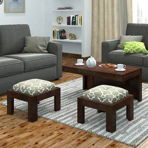Kivaha 2-Seater Coffee Table Set (Walnut Finish, Morocco Lattice Beige) by Urban Ladder - Design 1 Full View - 300519