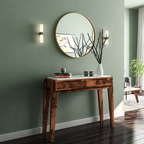 Galatea Marble Console Table (Teak Finish) by Urban Ladder - Design 1 Full View - 150271