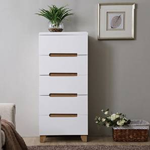 Oslo High Gloss Tall Chest Of Five Drawers (White Finish) by Urban Ladder - Design 1 Full View - 155307