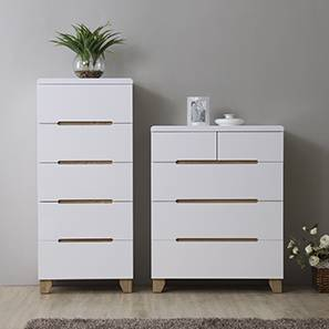 Oslo High Gloss Chest of Drawer Set (White Finish) by Urban Ladder - Full View Design 1 - 155353
