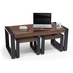 Altura Coffee Table with Nested Stools (Two-Tone Finish) by Urban Ladder