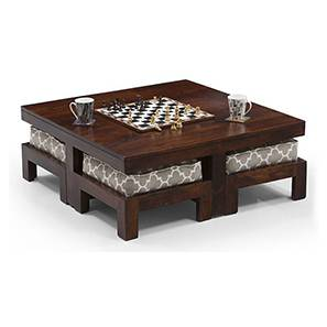 Kivaha 4-Seater Coffee Table Set (Walnut Finish, Morocco Lattice Beige) by Urban Ladder - Front View Design 1 - 293634