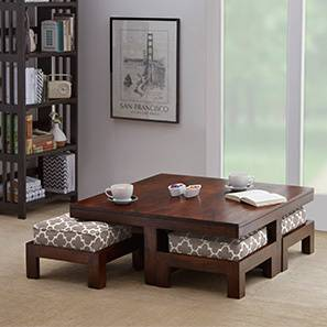 Kivaha 4-Seater Coffee Table Set (Walnut Finish, Morocco Lattice Beige) by Urban Ladder - Front View Design 1 - 293634