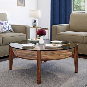 Cayman Glasstop Coffee Table (Teak Finish, With Shelf) by Urban Ladder - Picture - 162629