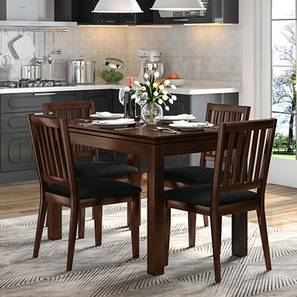 Diner 4 Seater Dining Table Set (With Upholstered Chairs) (Dark Walnut Finish) by Urban Ladder - Design 1 Full View - 162985