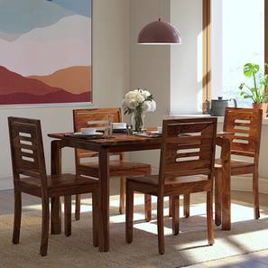 Catria - Capra 4 Seater Dining Table Set (Teak Finish) by Urban Ladder - Front View Design 1 - 200695