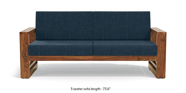 Parsons Wooden Sofa - Teak Finish (Indigo Blue) (Teak Finish, 3-seater Custom Set - Sofas, None Standard Set - Sofas, Indigo Blue, Fabric Sofa Material, Regular Sofa Size, Regular Sofa Type)