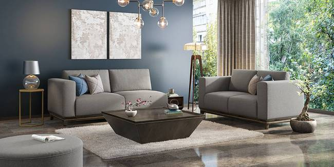 Taarkashi Sofa With Integrated Side Table (Gainsboro Grey) (1-seater Custom Set - Sofas, None Standard Set - Sofas, Fabric Sofa Material, Regular Sofa Size, Regular Sofa Type, Gainsboro Grey)