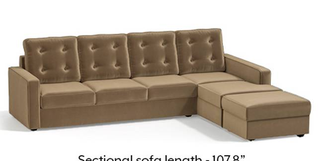 Apollo Sofa Set (Fabric Sofa Material, Regular Sofa Size, Soft Cushion Type, Sectional Sofa Type, Sectional Master Sofa Component, Fawn Velvet, Tufted Back Type, Regular Back Height)