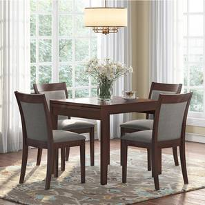 Murphy 4-to-6 Extendable - Dalla 4 Seater Dining Table Set (Grey, Dark Walnut Finish) by Urban Ladder