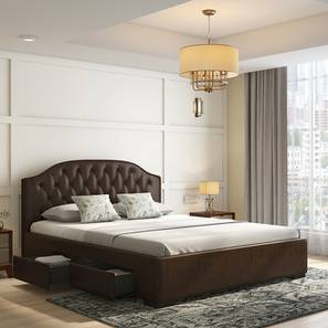 Agnes Upholstered Storage Bed (King Bed Size, Walnut) by Urban Ladder