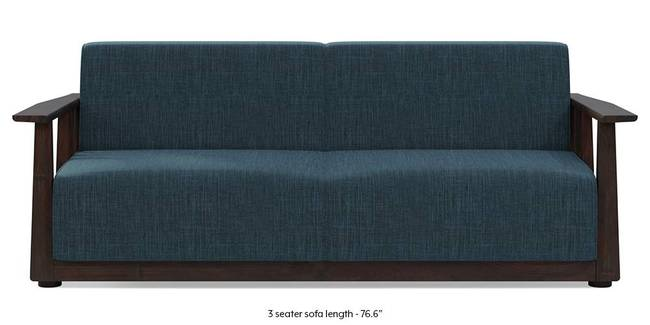 Serra Wooden Sofa - Mahogany Finish (Indigo Blue) (3-seater Custom Set - Sofas, None Standard Set - Sofas, Indigo Blue, Fabric Sofa Material, Regular Sofa Size, Regular Sofa Type)