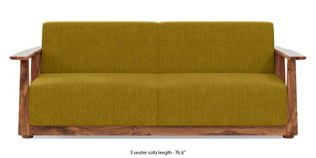 Serra Wooden Sofa - Teak Finish (Olive Green) (3-seater Custom Set - Sofas, None Standard Set - Sofas, Olive Green, Fabric Sofa Material, Regular Sofa Size, Regular Sofa Type)