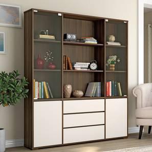 Iwaki Bookshelf With Glass Door (3 Drawer Configuration, 110 Book Book Capacity, Columbian Walnut Finish) by Urban Ladder