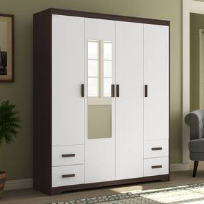 Miller 4 Door Wardrobe (4 Drawer Configuration, Smoked Walnut Finish) by Urban Ladder