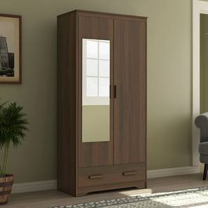 Hilton 2 Door Wardrobe (With Mirror, With Drawer Configuration, 7 Feet Height, Columbian Walnut Finish) by Urban Ladder