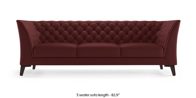 Weston Half Leather Sofa (Wine Italian Leather) (3-seater Custom Set - Sofas, None Standard Set - Sofas, Regular Sofa Size, Regular Sofa Type, Leather Sofa Material, Wine)