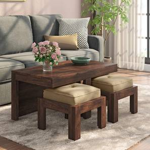 Kivaha 2-Seater Coffee Table Set (Walnut Finish, Beige) by Urban Ladder - Design 1 Full View - 300512
