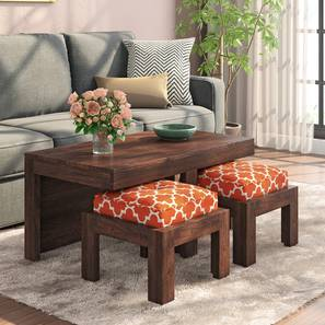 Kivaha 2-Seater Coffee Table Set (Walnut Finish, Morocco Lattice Rust) by Urban Ladder - Design 1 Full View - 300526