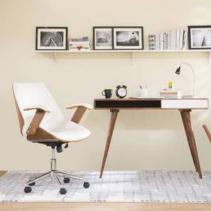 Ray Study Chair (Walnut Finish, White) by Urban Ladder