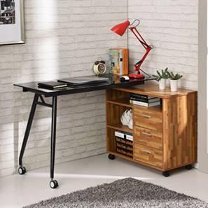 Niccol Glass Top Adjustable Study Table (Golden Oak Finish) by Urban Ladder - - 70365