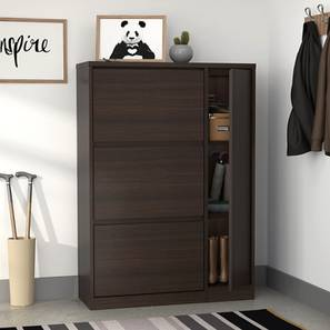 Pointe Shoe Cabinet (Dark Walnut Finish, With Boot Storage Configuration, 21 Pair Capacity) by Urban Ladder
