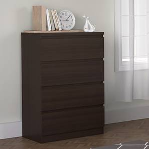 Bocado Compact Chest Of Drawers (Dark Walnut Finish, 4 Drawer Configuration) by Urban Ladder