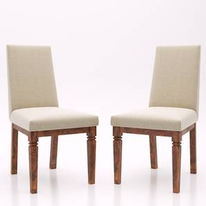 Malabar Dining Chairs Set Of 2 (Teak Finish, Macadamia Brown) by Urban Ladder