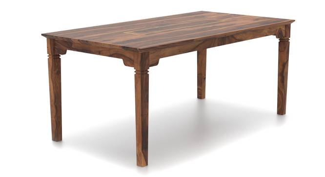 Malabar XL 6 Seater Dining Table (With Brass Inlay) (Teak Finish) by Urban Ladder