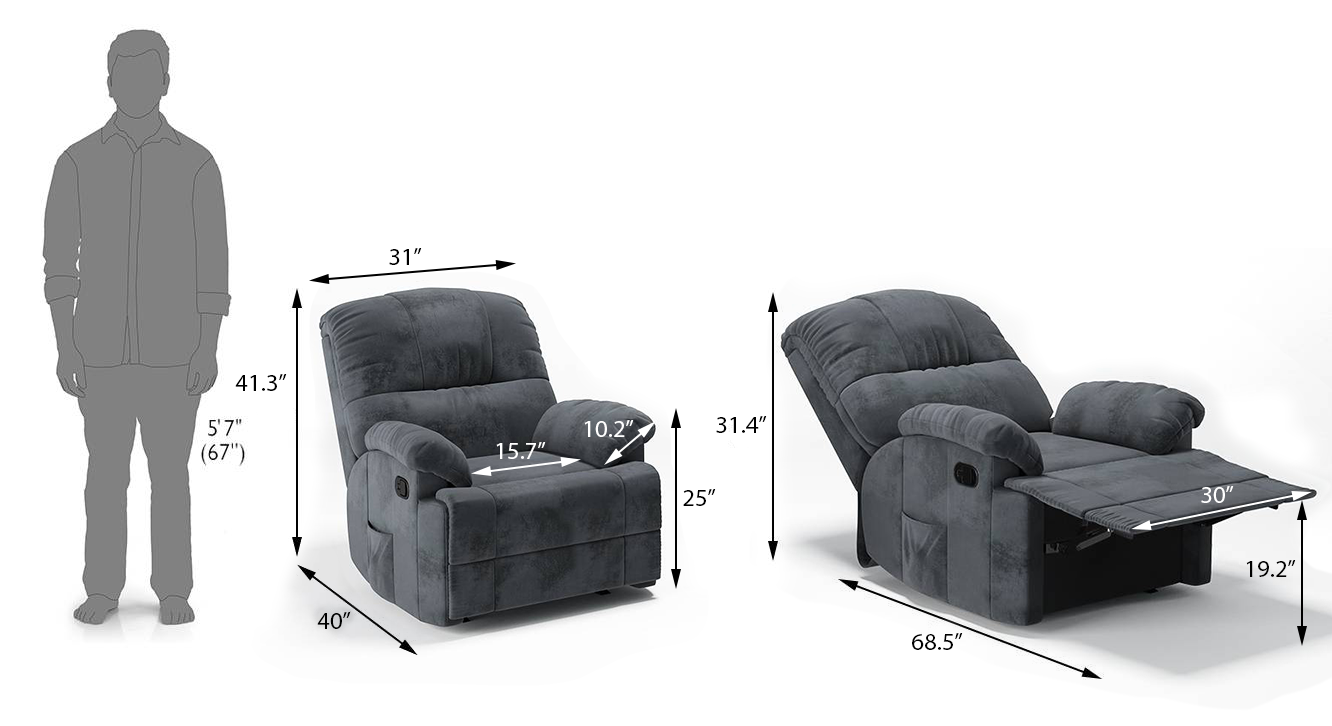 Cooper rocker recliner grey dimension update