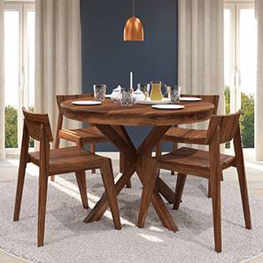 Liana - Gordon 4 Seater Round Dining Table Set (Teak Finish) by Urban Ladder