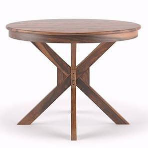 Liana 4 Seater Round Dining Table (Teak Finish) by Urban Ladder