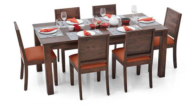 Arabia XL - Oribi 6 Seater Dining Set (Teak Finish, Burnt Orange) by Urban Ladder