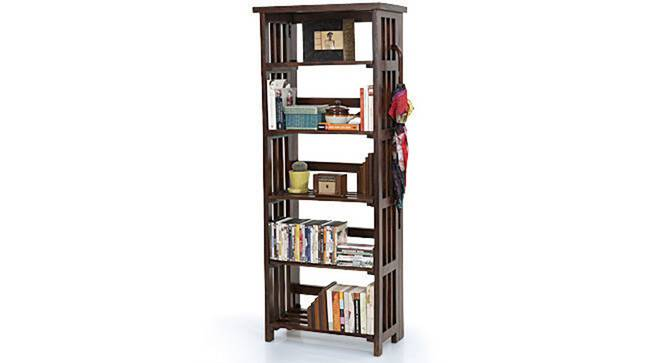 Rhodes Folding Book Shelf (Mahogany Finish, Tall Configuration, 60 Book Book Capacity) by Urban Ladder - Design 1 Semi Side View - 115415