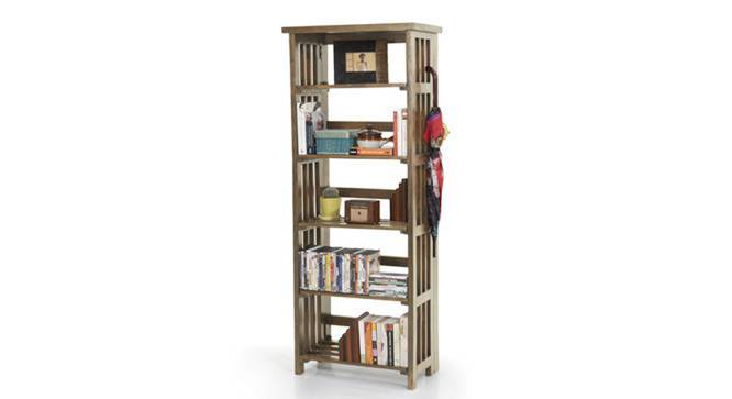 Rhodes Folding Book Shelf (Teak Finish, Tall Configuration, 60 Book Book Capacity) by Urban Ladder - Design 1 Semi Side View - 115425