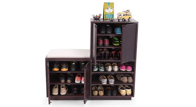 Wellington Shoe Rack & Bench (Mahogany Finish) by Urban Ladder
