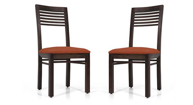 Zella Dining Chairs - Set of 2 (Mahogany Finish, Burnt Orange) by Urban Ladder