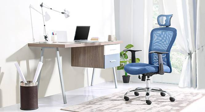 Venturi Study Chair-3 Axis Adjustable (Aqua) by Urban Ladder - Design 1 Semi Side View - 115779