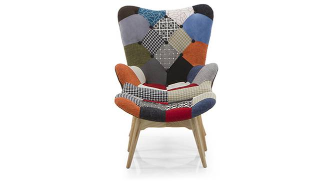 Contour Chair & Ottoman Replica (Patchwork) by Urban Ladder - Front View Design 1 - 115893