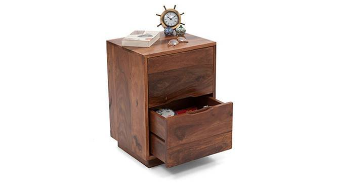Zephyr Bedside Table (Teak Finish) by Urban Ladder - Front View Design 1 - 116046