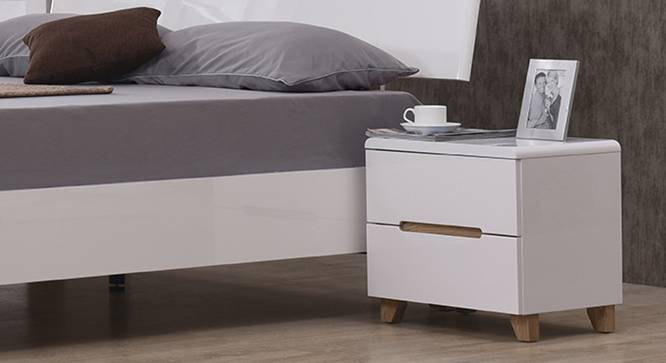 Oslo High Gloss Bedside Table (White Finish) by Urban Ladder - Full View Design 1 - 116052