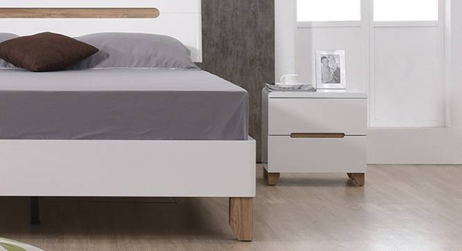 Oslo High Gloss Bedside Table (White Finish) by Urban Ladder - Half View Design 1 - 116053