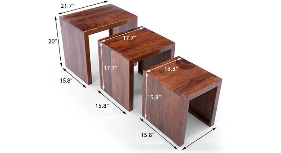 Hamilton nested stools teak finish