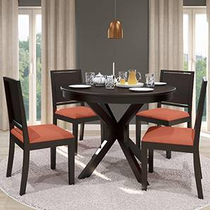 Liana - Oribi 4 Seater Round Dining Table Set (Mahogany Finish, Burnt Orange) by Urban Ladder