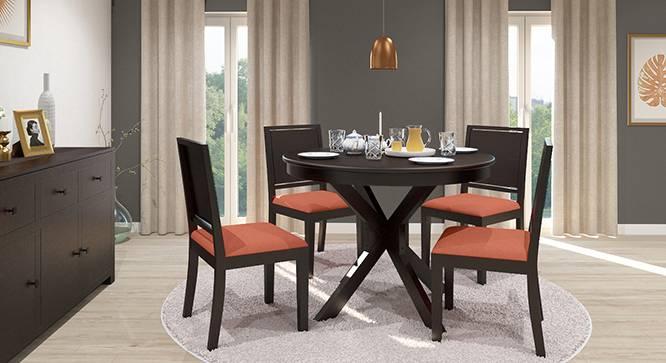 Liana - Oribi 4 Seater Round Dining Table Set (Mahogany Finish, Burnt Orange) by Urban Ladder
