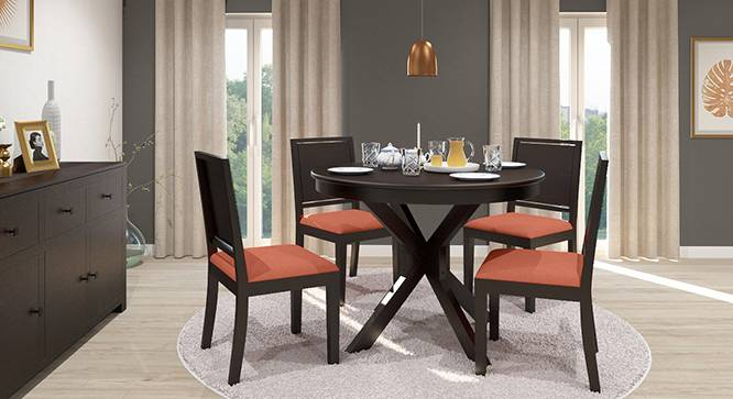 Liana - Oribi 4 Seater Round Dining Table Set (Mahogany Finish, Burnt Orange) by Urban Ladder - Front View Design 1 - 116757